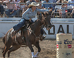 Barrel Racer Delaina Taketa from Byron, California at the 68th annual Oakdale Saddle Club Rodeo on Sunday, April 14, 2019.  (Al Golub/Record Photo)