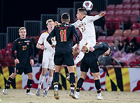 COLLEGE PARK, MD - NOVEMBER 21: Francesc Chulia #23 of Iona goes up for a header during a game between Iona College and University of Maryland at Ludwig Field on November 21, 2019 in College Park, Maryland.