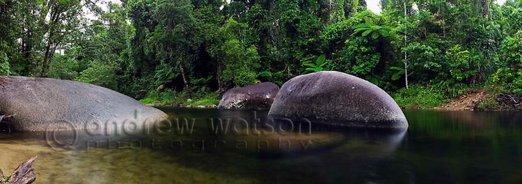 Babinda Boulders - a popular freshwater swimming hole.  Babinda, Queensland, AUSTRALIA