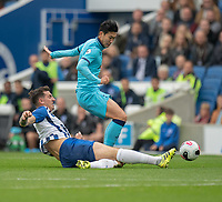 Tottenham Hotspur's Son Heung-Min (left) is tackled by  Brighton & Hove Albion's Lewis Dunk (right) <br /> <br /> Photographer David Horton/CameraSport<br /> <br /> The Premier League - Brighton and Hove Albion v Tottenham Hotspur - Saturday 5th October 2019 - The Amex Stadium - Brighton<br /> <br /> World Copyright © 2019 CameraSport. All rights reserved. 43 Linden Ave. Countesthorpe. Leicester. England. LE8 5PG - Tel: +44 (0) 116 277 4147 - admin@camerasport.com - www.camerasport.com