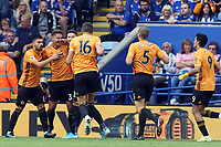 Leander Dendoncker of Wolverhampton Wanderers cong/ before it was ruled out by VAR  during Leicester City vs Wolverhampton Wanderers, Premier League Football at the King Power Stadium on 11th August 2019