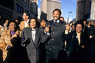 Atlanta, Georgia, U.S.A, 15 January, 1987. The 58th birthday memorial of Martin Luther King. From left to right: Christine King Farris, Coretta King, Reverend Jesse Jackson and the sister of Cory Aquino.