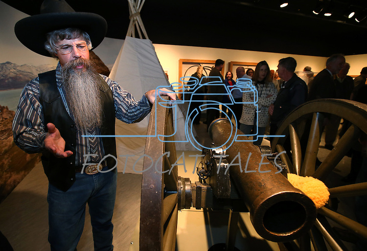 "Tony Argento talks about the Fremont Cannon at the ""Finding Fremont: Pathfinder of the West"" exhibit at the Nevada State Museum, in Carson City, Nev., on Wednesday, Jan. 29, 2014. (Las Vegas Review-Journal/Cathleen Allison)"