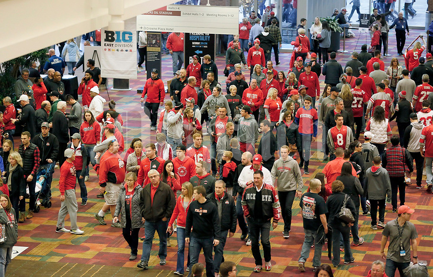 Ohio State and Wisconsin football fans painted the town red during Fan Fest at the Indiana Convention Center in Indianapolis on Saturday, December 2, 2017, before the Big Ten Championship game. [Barbara J. Perenic/Dispatch]