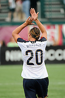 Abby Wambach (20) of the United States (USA) celebrates her 100th career goal. The United States (USA) Women's National Team defeated Canada (CAN) 1-0 during an international friendly at Marina Auto Stadium in Rochester, NY, on July 19, 2009.