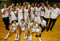 The Tall Blacks players and management celebrate victory during the International basketball match between the NZ Tall Blacks and Australian Boomers at TSB Bank Arena, Wellington, New Zealand on 25 August 2009. Photo: Dave Lintott / lintottphoto.co.nz