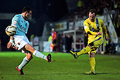 15.01.2013. Torquay, England. Torquay's Kevin Nicholson crosses during the League Two game between Torquay United and Exeter City from Plainmoor.