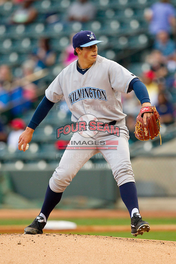 Wilmington Blue Rocks starting pitcher Kyle Zimmer (30) in action against the Winston-Salem Dash at BB&T Ballpark on April 18, 2013 in Winston-Salem, North Carolina.  The Dash defeated the Blue Rocks 4-0.  (Brian Westerholt/Four Seam Images)