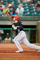 Chattanooga Lookouts center fielder Tanner English (9) follows through on a swing during a game against the Jackson Generals on May 9, 2018 at AT&T Field in Chattanooga, Tennessee.  Chattanooga defeated Jackson 4-2.  (Mike Janes/Four Seam Images)
