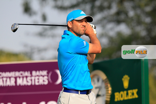 Sergio Garcia (ESP) tees off the 18th tee during Saturday's Final Round of the Commercial Bank Qatar Masters 2014 held at Doha Golf Club, Doha, Qatar. 25th January 2014.<br /> Picture: Eoin Clarke www.golffile.ie