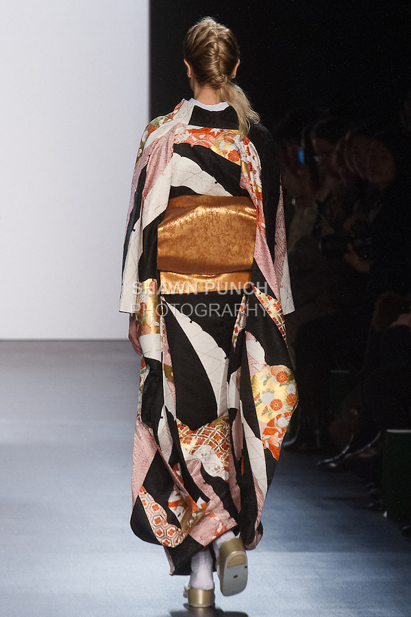 """Model walks runway in a """"Changing colors"""" silk kimono from the Hiromi Asai Fall Winter 2016 """"Spirit of the Earth"""" collection by Hiromi Asai & Kimono Artisan Kyoto, presented at NYFW: The Shows Fall 2016, during New York Fashion Week Fall 2016."""