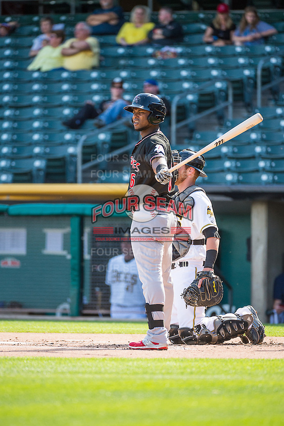 Angelys Nina (6) of the Albuquerque Isotopes at bat against the Salt Lake Bees in Pacific Coast League action at Smith's Ballpark on June 8, 2015 in Salt Lake City, Utah.   The Bees defeated the Isotopes 10-7 in game one of a double-header.(Stephen Smith/Four Seam Images)