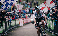 Wout Poels (NED/SKY) up the infamous Monte Zoncolan (1735m/11%/10km)<br /> <br /> stage 14 San Vito al Tagliamento &ndash; Monte Zoncolan (186 km)<br /> 101th Giro d'Italia 2018