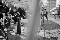 Sir Bradley Wiggins (GBR/Sky) prepping for his final TT as a World TT Champion<br /> <br /> 3 Days of De Panne 2015<br /> stage 3b: De Panne-De Panne TT