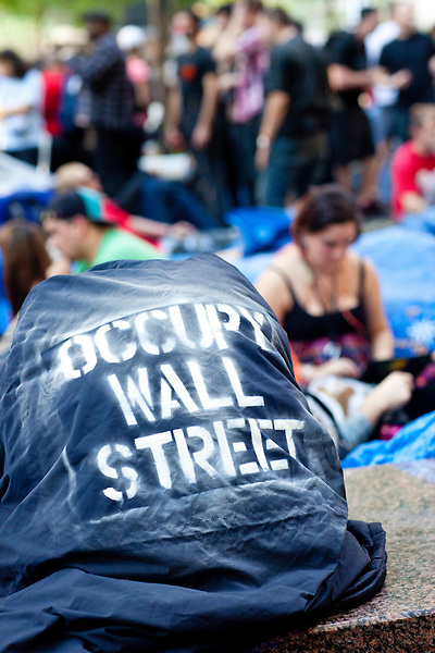 """The protest """"Occupy Wall Street"""" continues into its third week in Zuccotti Park in New York City on October 8, 2011."""