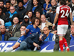 David Luiz of Chelsea sits injured after clattering into the steadicam during the premier league match at Stamford Bridge Stadium, London. Picture date 17th September 2017. Picture credit should read: David Klein/Sportimage