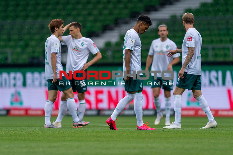 #wb0ß8, Maximilian Eggestein (Werder Bremen #35), Theodor Gebre Selassie (Werder Bremen #23), Niclas Füllkrug / Fuellkrug (Werder Bremen #11), Kevin Vogt (Werder Bremen  #03)<br /> <br /> <br /> Sport: nphgm001: Fussball: 1. Bundesliga: Saison 19/20: 34. Spieltag: SV Werder Bremen vs 1.FC Koeln  27.06.2020<br /> <br /> Foto: gumzmedia/nordphoto/POOL <br /> <br /> DFL regulations prohibit any use of photographs as image sequences and/or quasi-video.<br /> EDITORIAL USE ONLY<br /> National and international News-Agencies OUT.