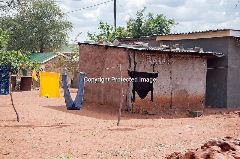 Laundry Drying in Village Yard in Botswana in Africa