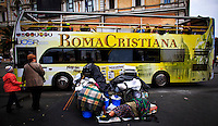 ITALY, ROME, November 1, 2011..Homeless are seen sleeping out site the train station Termini in Central Rome November 1 , 2011. VIEWpress /Eduardo Munoz.Italy's P.M. Berlusconi resigned on Saturday after new budget law is approved in parliament. The approval of the package will mark the final of the Berlusconi government..Local Media Report