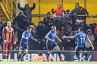 Steven Davies of Rochdale (ex Bradford City) celebrates scoring to make it 3-3 during the Sky Bet League 1 match between Bradford City and Rochdale at the Northern Commercial Stadium, Bradford, England on 9 December 2017. Photo by Thomas Gadd.