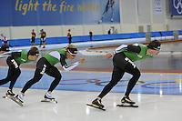 SCHAATSEN: SALT LAKE CITY: Utah Olympic Oval, 12-11-2013, Essent ISU World Cup, training, Douwe de Vries, Koen Verweij, Sven Kramer, ©foto Martin de Jong