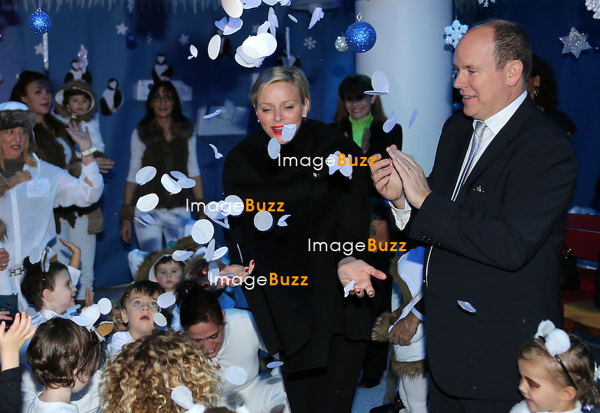 December 14,2012-Monaco (MCO)-Prince Albert of Monaco and Princess Charlene went to the Red Cross Nursery to attend the end of year show and to give to the children some gifts for Christmas. .
