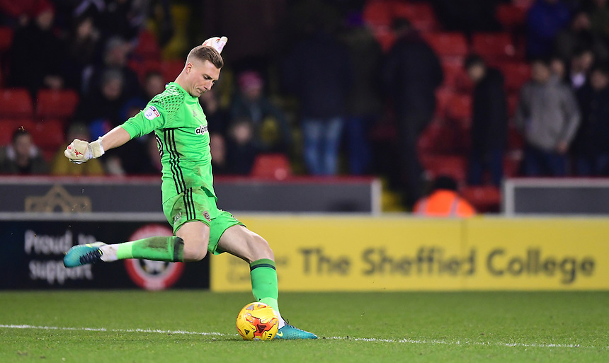 Sheffield United's Simon Moore<br /> <br /> Photographer Chris Vaughan/CameraSport<br /> <br /> The EFL Sky Bet League One - Sheffield United v Fleetwood Town - Tuesday 24th January 2017 - Bramall Lane - Sheffield<br /> <br /> World Copyright &copy; 2017 CameraSport. All rights reserved. 43 Linden Ave. Countesthorpe. Leicester. England. LE8 5PG - Tel: +44 (0) 116 277 4147 - admin@camerasport.com - www.camerasport.com