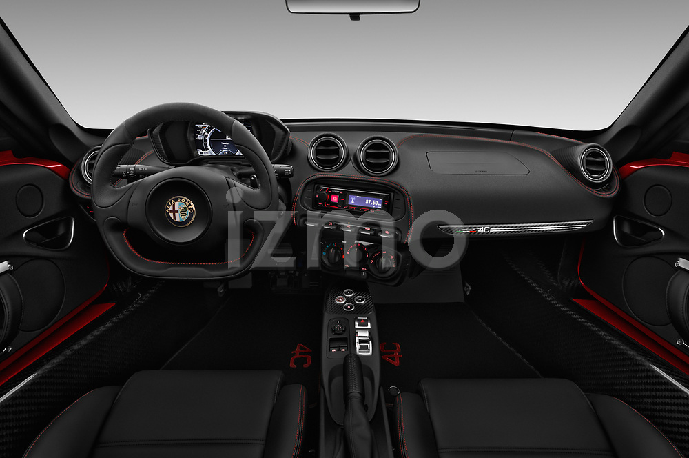 Stock photo of straight dashboard view of 2017 Alfaromeo 4C - 2 Door Coupe Dashboard