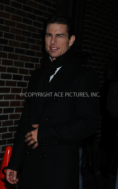 WWW.ACEPIXS.COM . . . . .  ....December 16 2008, New York City....Actor Tom Cruise made an appearance at the 'Late Show with David Letterman' on December 16 2008 in New York City....Please byline: AJ Sokalner - ACEPIXS.COM..... *** ***..Ace Pictures, Inc:  ..tel: (212) 243 8787..e-mail: info@acepixs.com..web: http://www.acepixs.com