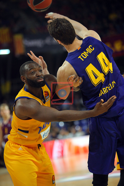 Turkish Airlines Euroleague 2018/2019. <br /> Regular Season-Round 30.<br /> FC Barcelona Lassa vs Khimki Moscow Region: 83-74. <br /> Andrew Harrison vs Ante Tomic.