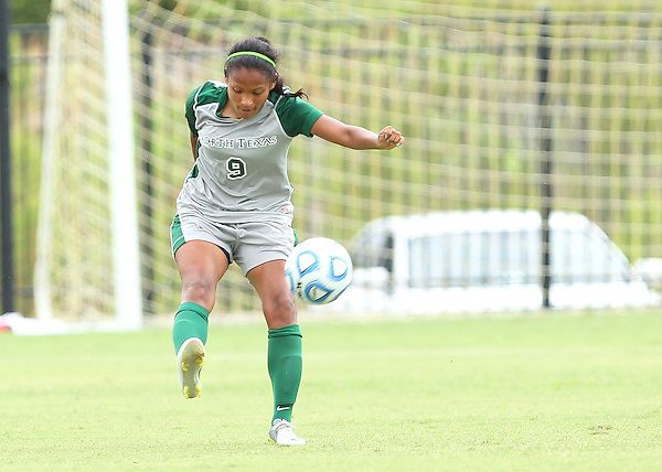 Denton, TX - SEPTEMBER 16: Karla Pineda #9 of the North Texas Mean Green soccer in action against the Texas Christian University Horned Frogs at the Mean Green Village Soccer Field University in Denton on September 16, 2012 in Denton, Texas. (Photo by Rick Yeatts)