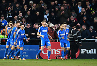 Notts County's Jonathan Stead, third in from right, celebrates scoring the opening goal<br /> <br /> Photographer Chris Vaughan/CameraSport<br /> <br /> The EFL Sky Bet League Two - Lincoln City v Notts County - Saturday 13th January 2018 - Sincil Bank - Lincoln<br /> <br /> World Copyright &copy; 2018 CameraSport. All rights reserved. 43 Linden Ave. Countesthorpe. Leicester. England. LE8 5PG - Tel: +44 (0) 116 277 4147 - admin@camerasport.com - www.camerasport.com