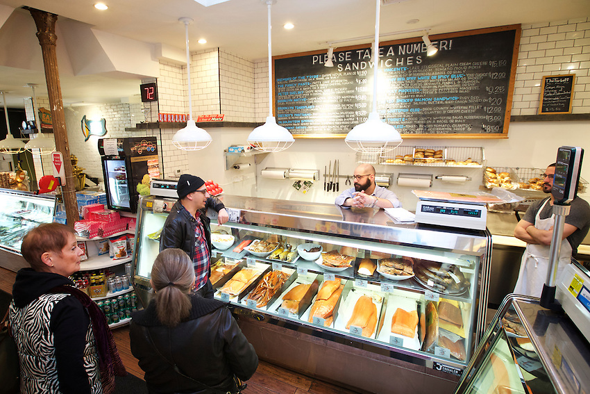 BROOKLYN, NY - April 13, 2016: The smoked fish counter at Shelsky's in Carroll Gardens. Shelsky's specializes in what owner Peter Shelsky describes as 'Jewish Soul Food.' <br /> <br /> CREDIT: Clay Williams for Tastebook.<br /> <br /> &copy; Clay Williams / claywilliamsphoto.com