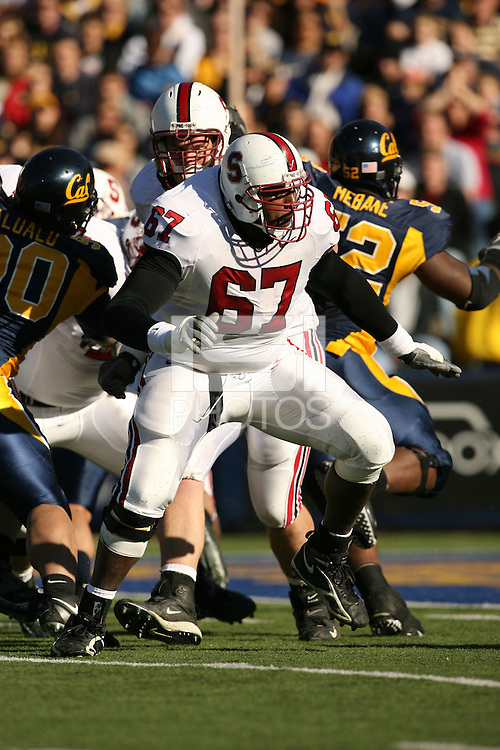 2 December 2006: Allen Smith during Stanford's 26-17 loss to Cal in the 109th Big Game at Memorial Stadium in Berkeley, CA.