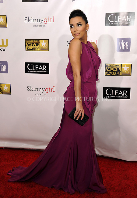 WWW.ACEPIXS.COM......January 10, 2013, Santa Monica, CA.....Eva Longoria arriving at the 18th Annual Critics' Choice Movie Awards at Barker Hangar on January 10, 2013 in Santa Monica, California. ..........By Line: Peter West/ACE Pictures....ACE Pictures, Inc..Tel: 646 769 0430..Email: info@acepixs.com