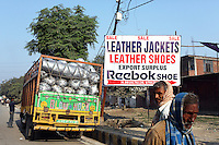 A Reebok export surplus store in the Jajmau area of Kanpur. Leather from the nearby tanneries is used for making a variety of leather products including shoes, bags and clothes. Kanpur has now become the country's leading leather exporter.