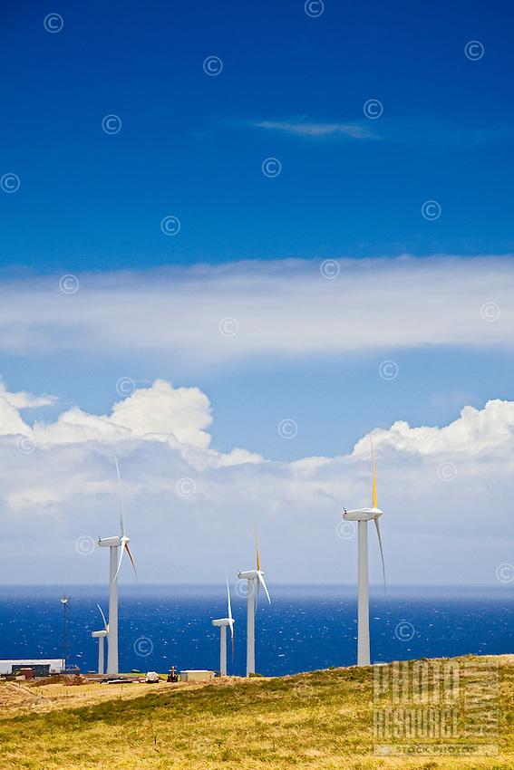 Wind turbines at Upolu Airport Wind Farm, Uplolu Point, Hawi, North Kohala, Big Island.