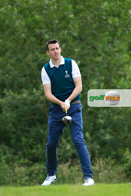 Kevin O'Donovan (Lee Valley) on the 12th tee during the Semi-Finals of the Munster Bruen &amp; Shield Finals at East Clare Golf Club on Sunday 19th July 2015.<br />
