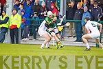 Shane Nolan Kerry in action against Willie Greene and Eanna O'Neill Kildare in the National Hurling League at Abbeydorney on Sunday.