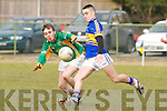 Glenflesks Brian O'Donoghue drives the ball forward ahead of Castlegregorys Padraig Rohan during their Intermediate championship clash in Glenflesk on Saturday.....