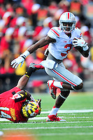 Buckeyes' Michael Thomas breaks a tackle. Ohio State trounced Maryland 52-24 during a game at the Capital One Field in Byrd Stadium, College Park, MD on Saturday, October 3, 2014.  Alan P. Santos/DC Sports Box