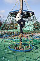 Young Girl Climbing in Cognac Park Charente France. .©shoutpictures.com..john@shoutpictures.com