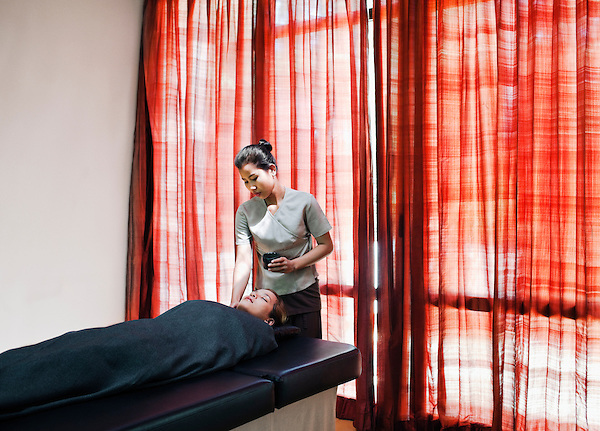 A woman receives a Dead Sea Mud Wrap at the Visaya Spa, FCC Angkor, Siem Reap, Cambodia.