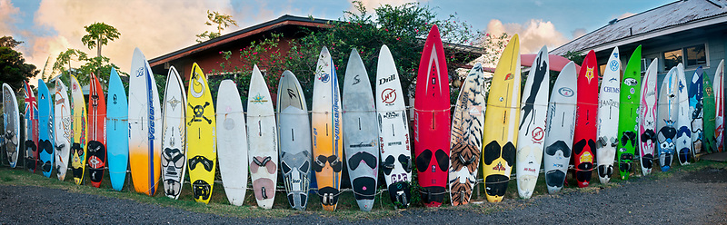Surfboard fence. Paia, Maui, Hawaii.