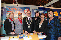 NO FEE PICTURES.25/1/13 Maureen Ledwith, Director Holiday World, Lord Mayor of Dublin is Naoise Ó Muirí and Clare Dunne, President ITAA with Orla Tooher, Leslie Cullen and Kathryn McCarthy at the Holiday World Show at the RDS, Dublin. Picture:Arthur Carron/Collins