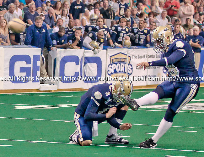 Aug 14, 2010: Tampa Bay Storm place kicker Garrett Rivas (#18) kicks a point after. The Storm defeated the Predators 63-62 to win the division title at the St. Petersburg Times Forum in Tampa, Florida. (Mandatory Credit:  Margaret Bowles)