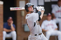 Joe Van Meter #4 of the VCU Rams follows through on his swing against the Virginia Cavaliers at the Charlottesville Regional of the 2010 College World Series at Davenport Field on June 4, 2010, in Charlottesville, Virginia.  The Cavaliers defeated the Rams 14-5.  Photo by Brian Westerholt / Four Seam Images