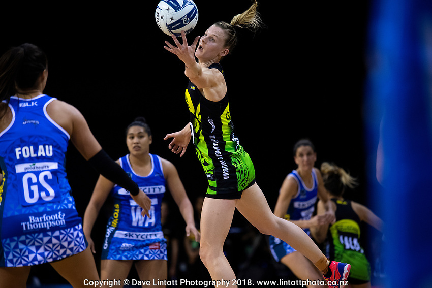 Katrina Grant takes a pass during the ANZ Premiership netball match between the Central Pulse and Northern Mystics at TSB Bank Arena in Wellington, New Zealand on Wednesday, 1 August 2018. Photo: Dave Lintott / lintottphoto.co.nz