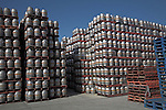 Beer barrels piled high on pallets Adnams distribution centre, Reydon, near Southwold, Suffolk, England