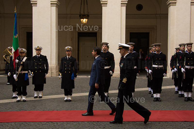 (From L to R) Giuseppe Conte (Italian Prime Minister) & Admiral Sq. Carlo Massagli (Military Advisor of the Prime Minister and Head of the Secretariat Office).<br /> <br /> Rome, 03/02/2020. Today, Viktor Orbán, Prime Minister of Hungary (Leader and President of Fidesz, a national conservative party), visited Palazzo Chigi where he met with the Italian Prime Minister Giuseppe Conte.